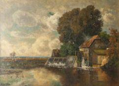 Leu, Oscar (1864-1942), Mühle am See, Öl/Lw., li. u. sign., ca. 70 x 97 cm, gerahmt. Lw. m.