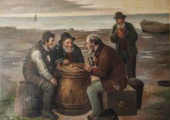 Klingsberg, Rudolf (1881-1943), Fischer beim Würfelspiel, Öl/Lw., doubl., re. u. sign., ca. 73 x