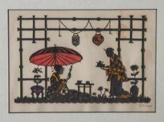 Scherenschnitt, 1. Hälfte 20. Jahrhundert, Japanische Teezeremonie, farbig unterlegt, re. u. m.