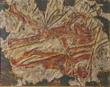 Lubion (20. Jahrhundert), Abstrahierte Darstellung zweier Krieger in Rot, Mischtechnik/Holz, li.