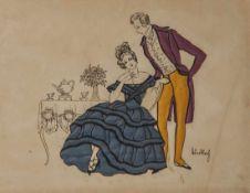 Tuschezeichnung/Scherenschnitt, 1. Hälfte 20. Jahrhundert, Biedermeierpaar an Kaffeetafel, farbig