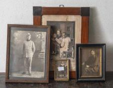 Konvolut Rahmen, 4 Stück, Biedermeier bis ins 20. Jahrhundert, verschiedene Größen. Z. T. m. Besch.