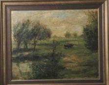 Weber, Rudolph (19./20.Jahrhundert), Weidende Kühe in sommerlicher Landschaft, Öl/Lw., rechts