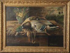 Lehrnickel, G. (19./20. Jahrhundert), Jagdstillleben mit erlegtem Stockentenpaar, Öl/Lw., re. u.