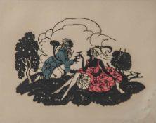 Scherenschnitt, 1. Hälfte 20. Jahrhundert, Galantes Jägerpaar in Landschaft, farbig unterlegt, ca.
