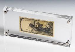"""Banknote """"5 Deutsche Mark"""", aus der 2. Serie """"Bank deutscher Länder"""" (1948), hinter Plexiglas, rs."""
