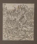 Holzschnitt um 1500, ca. 18,3 x 15,5 cm, PP, ungerahmt, fleckig.