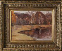 Mühlen, L. von (19./20. Jahrhundert), Herbstliche Landschaft mit Birken an einem Gewässer, Öl/Lw.,