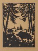 Scherenschnitt, 1. Hälfte 20. Jahrhundert, Schwarzwild im Unterholz, ca. 21 x 15,5 cm, hinter Glas