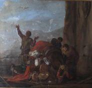 Wohl Castiglione, Giovanni Benedetto (1609-1664), Figurenszenerie mit Maultier, Öl/Lw, Darstellung