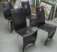 """4 Stühle, Philippe Starck für Driade, Mod. """"Ed Archer"""", Rahmen aus Stahlrohr mit schwarzem"""