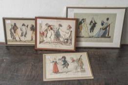 Vier kolorierte Kupferstiche, um 1780-1800 (Karikaturen), La Recontre au Bal, Le Retour du Bal, Le