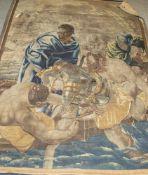 Wandteppich, wohl Flandern, um 1700, Wolle gewebt, mythologische Szenerie, rs. bez. Salon No. Ca.