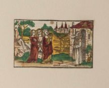 Farbholzschnitt aus: Legenda aurea von Jacobus de Voragine, Straßburg um 1505, ca. 8,2 x 13,5 cm,