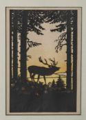 Scherenschnitt, 1. Hälfte 20. Jahrhundert, Röhrender Hirsch in der Abendsonne, farbig unterlegt, ca.