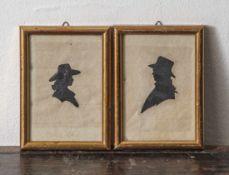 Paar Scherenschnitte, 19. Jahrhundert, zwei Porträtdarstellungen, Mann und Frau im Profil. Ca. 8 x 5
