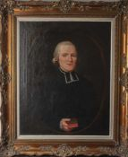 Unbekannter Künstler (18. Jahrhundert), Halbkörperporträt eines Geistlichen, in gemaltem Oval, Öl/