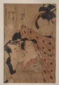 Kitagawa, Utamaro (1753-1806), Überraschtes Liebespaar, Farbholzschnitt, ca. 37,2 x 24,5 cm, PP,