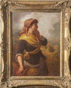 Walker, E. (19. Jahrhundert), Junges Bauernmädchen mit Ährengabe vor Getreidefeld, Öl/Lw.,