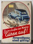 Schönes originales Blechschild, um 1920, für Garagen mit Hinweis auf Vergiftung durch Auspuffgase.