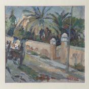 Grosz, August Ignatz (1847-1917), Mediterrane Straßenszene mit Pferdekutsche, Öl/wohl Lw., re. u.