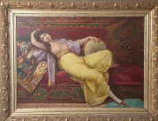 Unbekannter Künstler (19./20. Jahrhundert), Orientalische Tänzerin, Öl/Holz, unsigniert, Darstellung