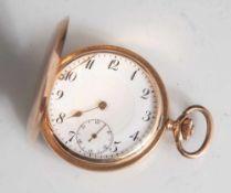 Herrentaschenuhr, Savonette, um 1900, Gelbgold 585, guillochiertes Gehäuse mit freier
