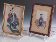2 Malereien auf Reispapier, China, Ende 19. Jahrhundert/ um 1900, feine Gouachemalerei mit den