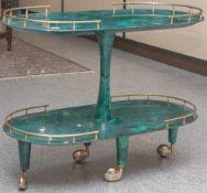 Servierwagen, Design Aldo Tura (1909-1963), Mailand, Italien 1950/60er Jahre, ovale Grundform, 2-