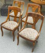 Satz von 4 gleichen Biedermeierstühlen, Deutschland, um 1820/30, Nußholz, Sitzfläche gepolstert,