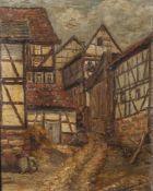 Quenard, Lucien (wohl 1902-1995), Dorfgasse mit Fachwerkhäusern, Öl/Lw., re. u. sign., ca. 50 x 40