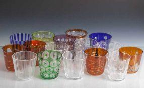 16 Sammelgläser, Rotter Glas, Lübeck, farbloses Kristallglas mit unterschiedlichen Dekoren und