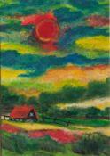 "Alexander (1929-2011), ""Deichlandschaft"", Öl/Papier, li. u. sign., rs. sign. u. bez., ca. 16 x 22,"
