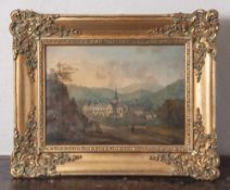 Unbekannter Künstler (19. Jahrhundert), Ansicht Kloster Eberbach, Öl/Lw. Ca. 21,3 x 29 cm,