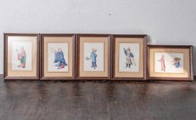 5 figürliche Malereien auf Reispapier, China, Ende 19. Jahrhundert/ um 1900, feine Gouachemalerei