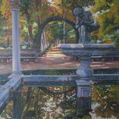 Sastre, Bartolomé (geboren 1947), Sommerliche Parklandschaft mit Brunnenanlage. Sehr plastische,