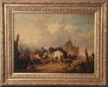 Shayer, William I (1788-1879), Niederländische Küstenszene mit markttreibendem Fischervolk, Öl/