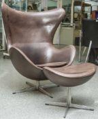 Egg Chair mit orig. Fußhocker, Fritz Hansen, 1960er Jahre, Entwurf Arne Jacobsen, Alu Fuß mit