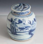 Ingwertopf, China, 19. Jahrhundert, Porzellan, hellgraue Glasur, mit Landschaftsdarstellung in