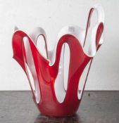 Glasobjekt/ Glasschale, zweifarbig (rot/weiss). H: 38cm.