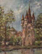Helm, Walter (1925-1987), Befestigter Turm mit Kirche im Hintergrund, Acryl/Karton, re. u. sign. Ca.