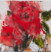 "Jani, ""Rote Rosen"", Acryl/Lw, re. u. sign. Ca. 20 x 20 cm, auf Keilrahmen aufgezogen."