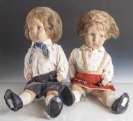 Paar Puppen im Lenci-Stil, 1930er Jahre, Geschwisterpaar mit beweglichen Gelenken und Kurbelkopf,