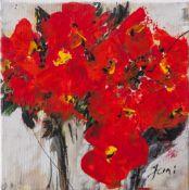 """Jani, """"Roter Blumenstrauß"""", Acryl/Lw, re. u. sign. Ca. 20 x 20 cm, auf Keilrahmen aufgezogen."""