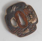 Tsuba, Japan, wohl späte Edo-Periode, Kupfer/Kupferlegierung mit Goldauflage. Dargestellt ist eine