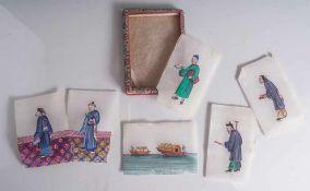 6 Malereien auf Reispapier, China, Ende 19. Jahrhundert/ um 1900, feine Gouachemalerei mit