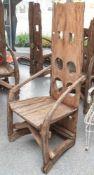 Stuhl Prov. wohl Indonesien, aus uralten Teilen eines Schlitten der von Wasserbüffeln durch die