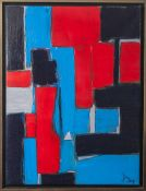 Jani, Ohne Titel, 2014, Acryl/Lw, re. u. sign. u. dat., Komposition in Blau, Grau u. Rot. Ca. 80 x