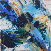 "Jani, ""Abstraktion in Blau"", Acryl/Lw, re. u. sign. Ca. 20 x 20 cm, auf Keilrahmen aufgezogen."