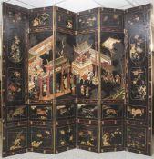 Paravent, Karomandellack, vermutlich Dresden, um 1700, höfisches Möbelstück von erlesener